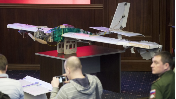 Drones displayed at a briefing in the Russian Defense Ministry in Moscow, on Jan. 11, 2018. (Pavel Golovkin / AP)