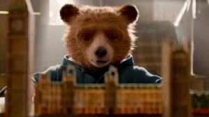 """This image released by Warner Bros. Pictures shows the character Paddington, voiced by Ben Whishaw in a scene from """" Paddington 2."""" (Warner Bros. Pictures via AP)"""