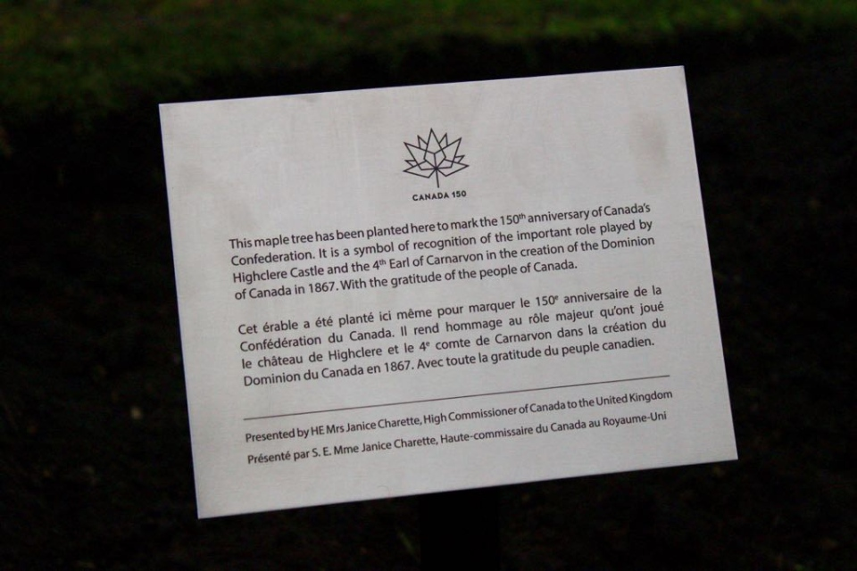This message stands with the maple tree commemorating Canada at Highclere Castle.