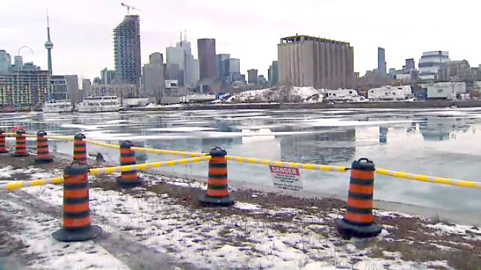The view of the skyline from Toronto's Port Lands where a multi-million dollar project began on Jan. 11 to protect the area from flooding.