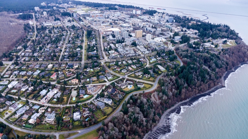 The University of British Columbia is seen from the air in the second week of January 2018.