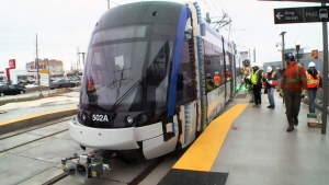 A light rail vehicle is seen at the Ion stop at Conestoga Mall in Waterloo on Thursday, Jan. 11, 2018.
