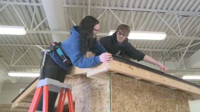 Students build tiny houses in Regina on Jan. 11, 2018