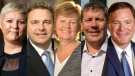 Saskatchewan Party leadership candidates, from left to right, Tina Beaudry-Mellor, Ken Cheveldayoff, Alanna Koch, Scott Moe and Gord Wyant.