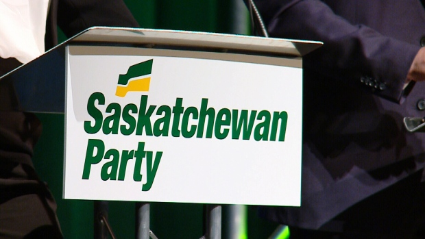A podium is shown here at a Saskatchewan Party leadership debate.