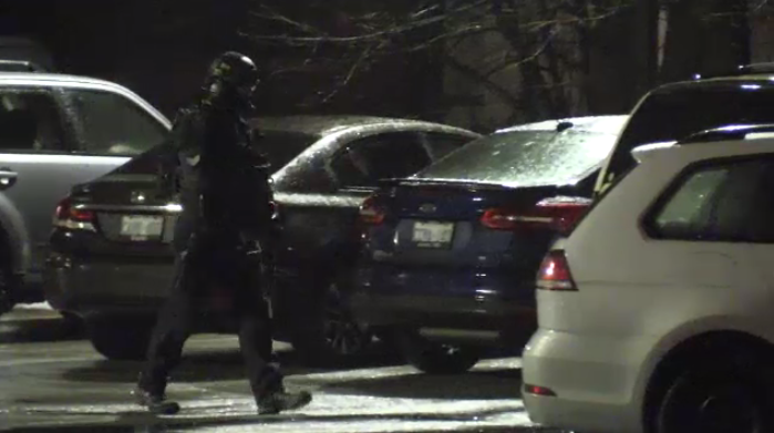 The emergency response team was brought in for a barricaded man in Waterloo Thursday evening.