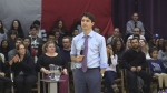 Prime Minister Justin Trudeau takes questions at a town hall meeting in London, Ont, on Thursday, January 11, 2018. (CTV London)