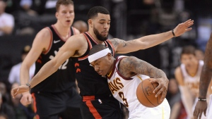 Cleveland Cavaliers guard Isaiah Thomas (3) drives to the net against Toronto Raptors guard Fred VanVleet (23) during first half NBA basketball action in Toronto on Jan. 11, 2018. THE CANADIAN PRESS/Frank Gunn