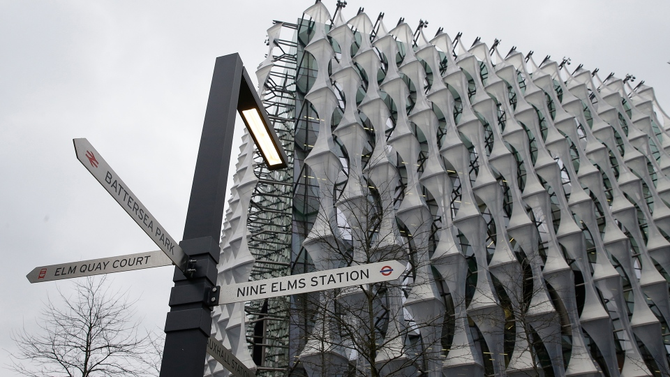 A general view of the new United States Embassy building, with signs for the local railway stations outside, in London, Friday, Jan. 12, 2018. (AP / Alastair Grant)