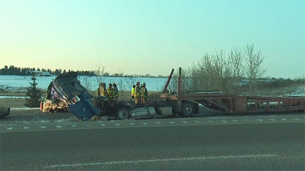 Truck driver killed, fatal crash, QEII Highway, La
