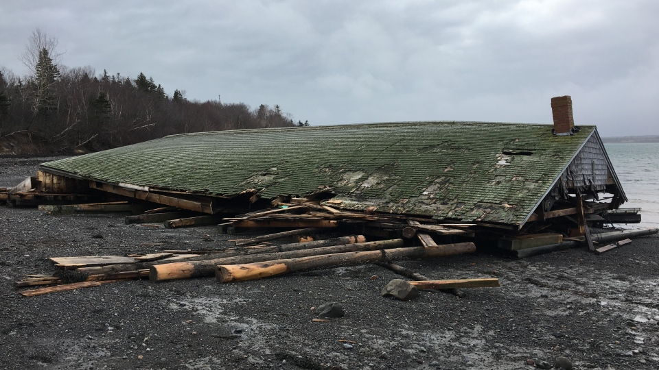 The Jan. 4 blizzard tore this brine shed from its mooring at McCurdy's Smokehouse off Lubec, Maine, blowing it to nearby Campobello Island in New Brunswick.