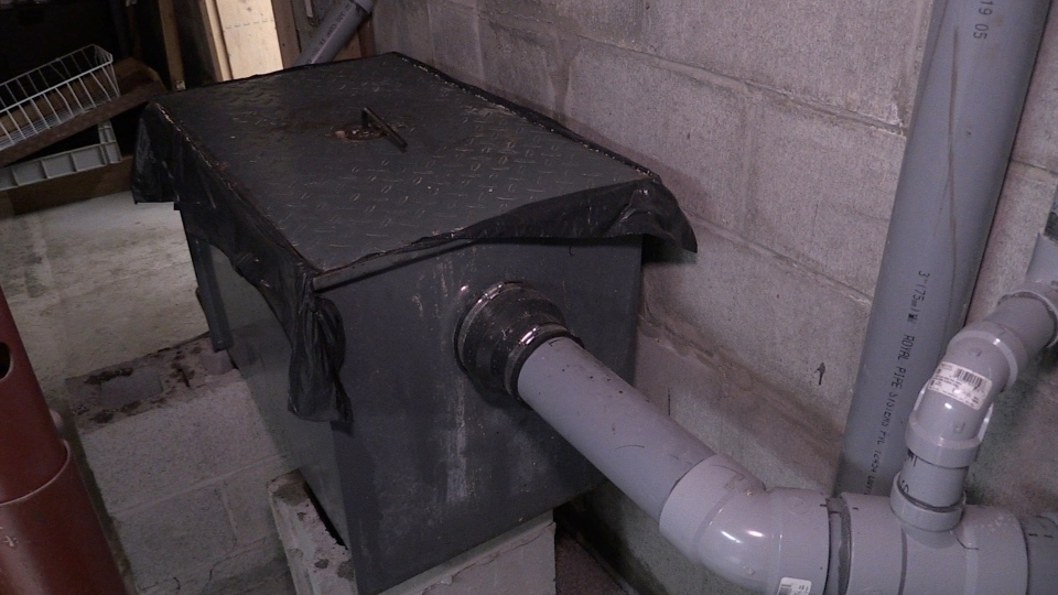 Trap prevents solid waste from entering sewer
