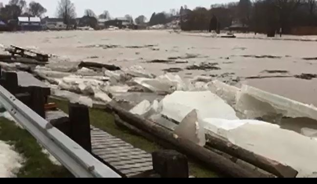 Kettle Creek spills its banks in Port Stanley on Friday, Jan. 12, 2018 due to an ice jam near the lift bridge. 