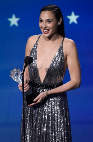 Gal Gadot accepts the #SEEHER award at the 23rd annual Critics' Choice Awards at the Barker Hangar on Thursday, Jan. 11, 2018, in Santa Monica, Calif. (Photo by Chris Pizzello/Invision/AP)