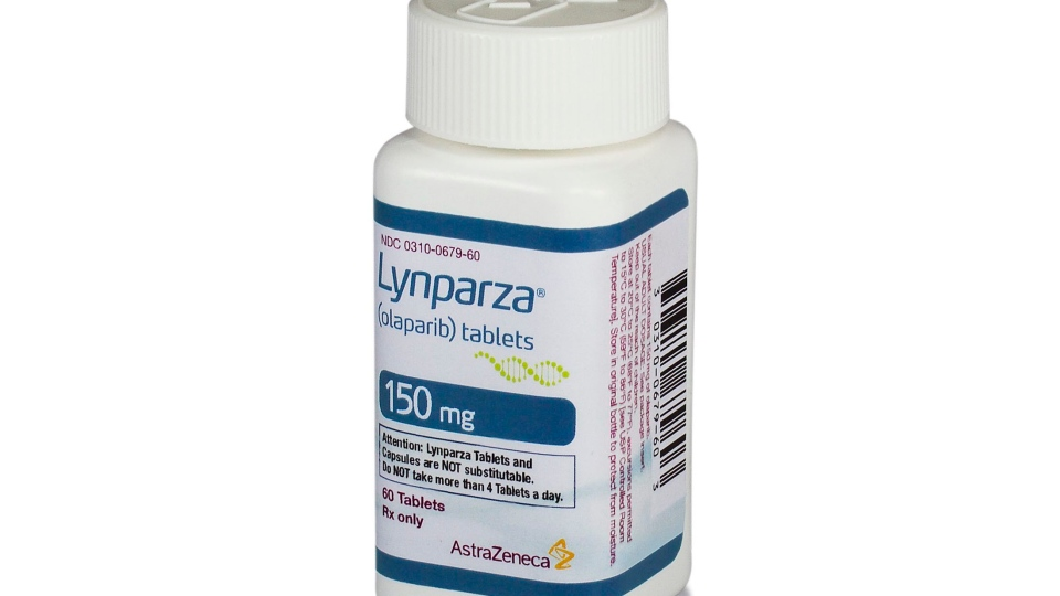 This photo provided by AstraZeneca shows a bottle of Lynparza, the first drug aimed at women with advanced breast cancer caused by an inherited flawed gene. (Courtesy of AstraZeneca via AP)