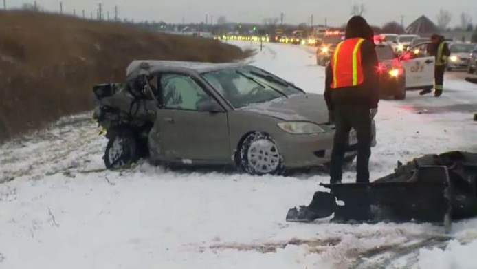 One person was hurt in a two-vehicle collision on Highway 7/8 near Nafziger Road on Friday, Jan. 12, 2018.