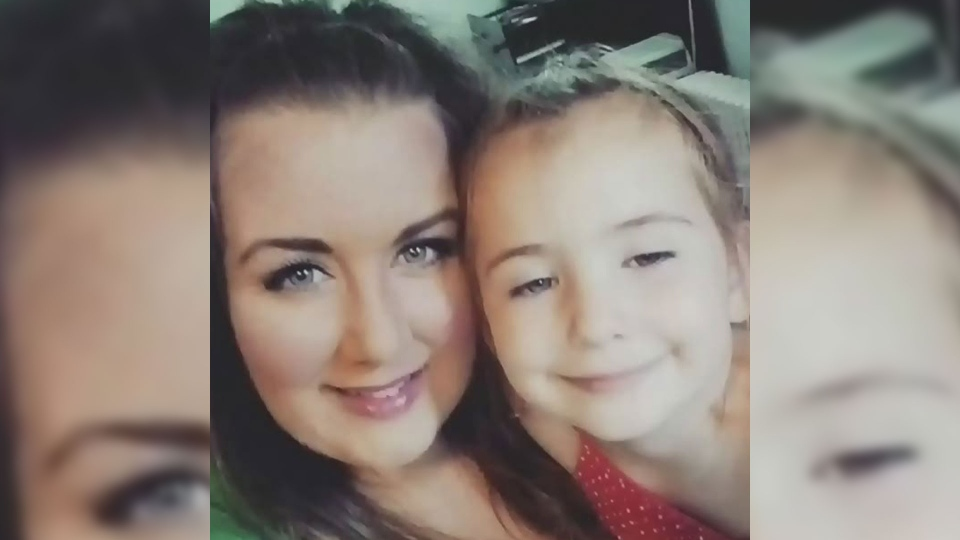 Angelique Swann, 36, was standing at a bus stop with her daughter Stella on Thursday when she was struck and pinned against a house. (CTV Atlantic / Facebook)
