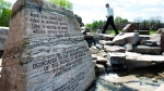 A rock memorial at the Walkerton Heritage Water Garden is shown in Walkerton, Ont., on Sunday, May 16, 2010. (THE CANADIAN PRESS/Nathan Denette)