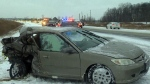 Flash freeze leads to dozens of collisions