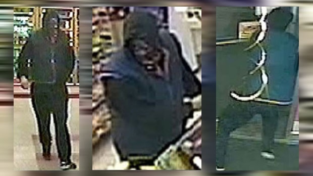 Surveillance images of a man who allegedly pointed a gun at a convenience store robbery on November 29, 2017 in the 3900 block of 17 Ave SE (CPS)