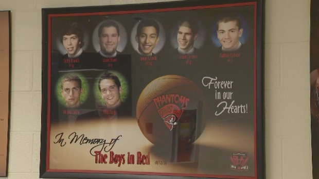 Javier Acevedo, Nathan Cleland, Justin Cormier, Codey Branch, and Daniel Hains -- were 17 years old. The other two students were Nick Quinn, 16, and Nikki Kelly, 15.