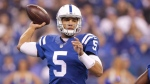 Indianapolis Colts quarterback Josh Freeman (5) looks to throw against the Tennessee Titans during the first half of an NFL football game in Indianapolis, Sunday, Jan. 3, 2016. The Montreal Alouettes have signed international quarterback Josh Freeman to a two-year deal. THE CANADIAN PRESS/AP, Michael Conroy