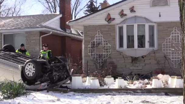 Kitchener home has extensive damage after a car crash. (Jan. 13, 2017)