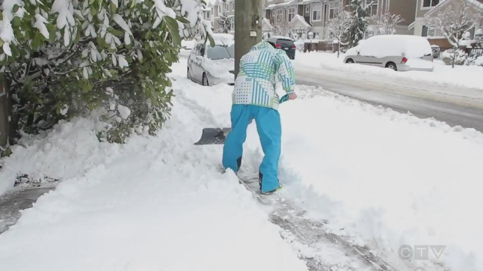 Proper way to shovel snow