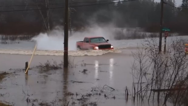 In southern New Brunswick, total rainfall amounts had exceeded 50 millimetres in some areas by Saturday afternoon, with isolated reports of more than 100 millimetres, according to the weather agency.