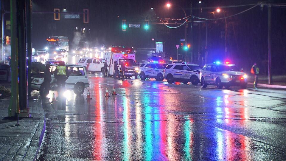 The collision shut down Canada Way.