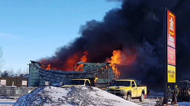 Home Hardware lumber yard burns to the ground in Mount Albert. (Courtesy: Mandy Kerr)