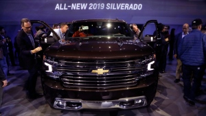 The 2019 Chevrolet Silverado High Country pickup is unveiled, Saturday, Jan. 13, 2018, in Detroit. (AP Photo/Carlos Osorio)