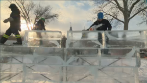 This year's ice palace, with a two-week construction time frame, is breaking the traditional mold. Two first-year Laval University students entered a class contest, presenting what would ultimately go on to be the winning design for this year's castle. (CTV Montreal)
