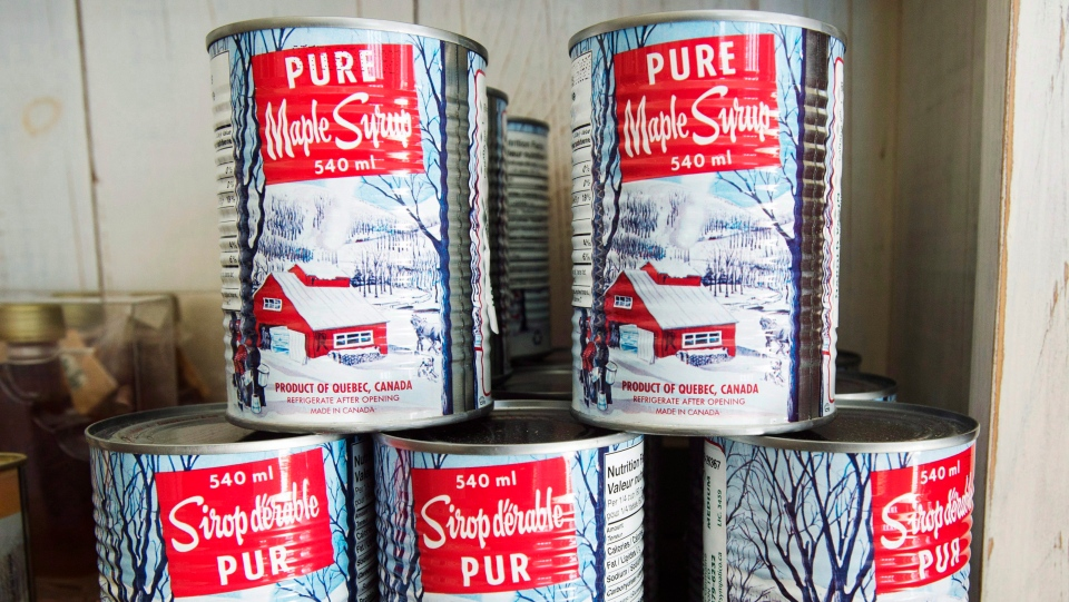 Maple syrup cans are seen at a sugar shack Friday, February 10, 2017 in Oka, Quebec. (Ryan Remiorz/THE CANADIAN PRESS)