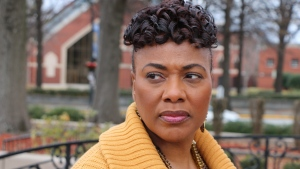 Bernice King, the daughter of the Rev. Martin Luther King, Jr., is seen outside of The Martin Luther King Jr. Center for Nonviolent Social Change in Atlanta on Wed., Jan. 10, 2018. (AP Photo/Robert Ray)