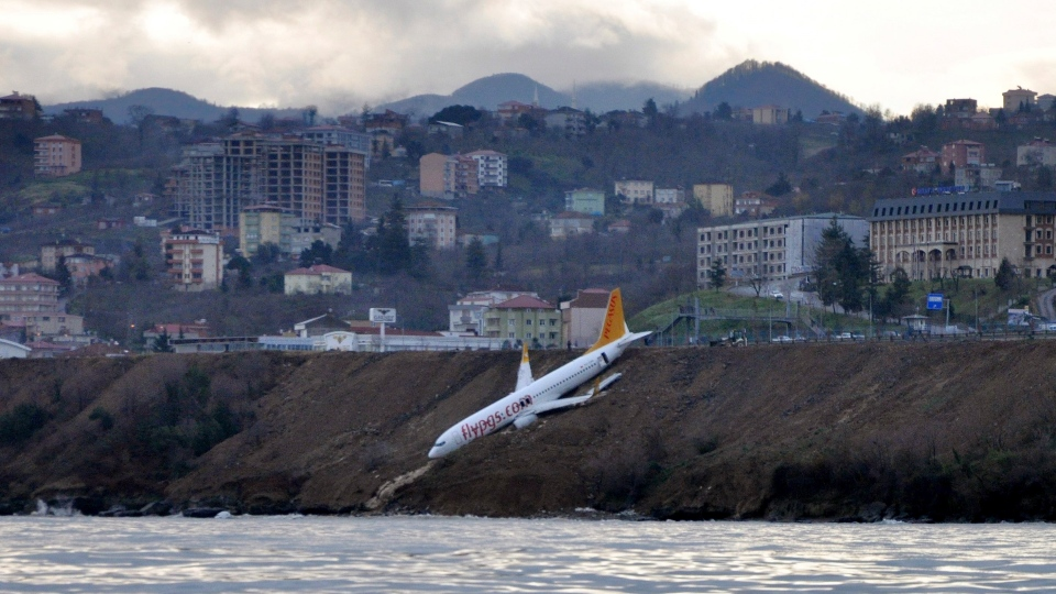 A Boeing 737-800 of Turkey's Pegasus Airlines after skidding off the runway downhill towards the sea at the airport in Trabzon, Turkey, Sunday, Jan. 14, 2018. (DHA-Depo Photos via AP)