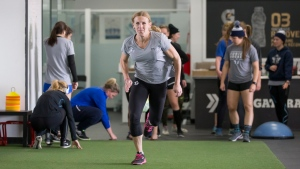 Toronto Furies' Jessica Platt works out in in Toronto in this undated handout photo. (THE CANADIAN PRESS/HO, Chris Tanouye, CWHL)