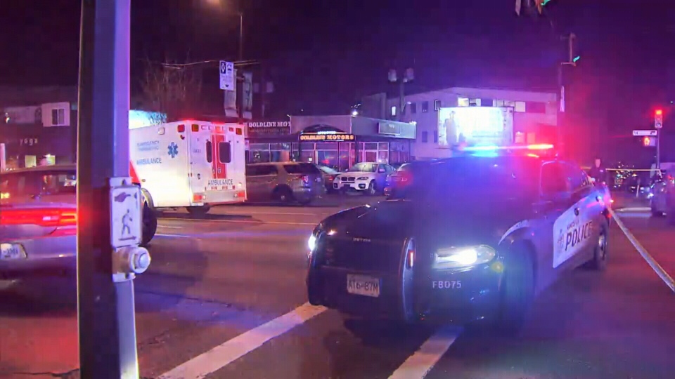 Police respond to a brazen gunfight on Vancouver's busy Broadway corridor that killed 15-year-old Alfred Wong. Jan. 13, 2018.