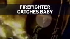 Caught on cam: Firefighter catches baby