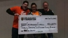 Cassie Leggio, her husband and uncle won the 50/50 at the T-Mobile Arena in Las Vegas on Saturday, January 13, 2018.