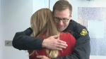 Speed skater's reunion with firefighter
