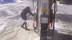Police seek man who lit fire at gas station