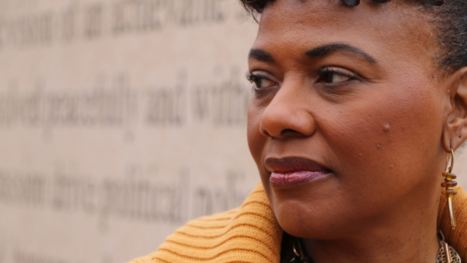 Bernice King, the daughter of the Rev. Martin Luther King, Jr., is seen outside of The Martin Luther King Jr. Center for Nonviolent Social Change in Atlanta on Jan. 10, 2018. (Robert Ray / AP)