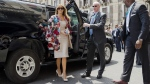 Melania Trump arrives at the City Hall in the Sicilian town of Catania, Italy, on May 26, 2017. (Domenico Stinellis / AP)