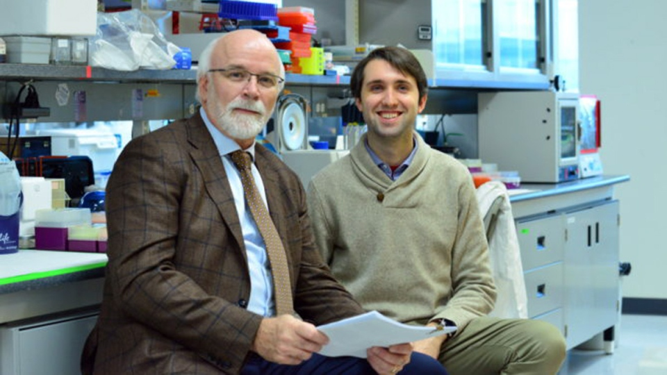 Dr. Michael Strong and Alex Moszczynski, in the lab at Robarts Research Institute at Western University.