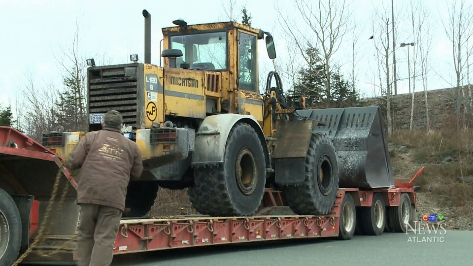 This Jan. 15, 2018, photo shows the front-end loader used in an early morning rampage on Nova Scotia's Cape Breton Island.(CTV Atlantic)