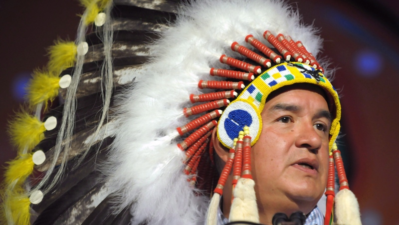 Federation of Sovereign Indigenous Nations Chief Bobby Cameron speaks at the opening of the Assembly of First Nations annual general meeting in Regina, Sask., Tuesday July 25, 2017. (Mark Taylor/THE CANADIAN PRESS)