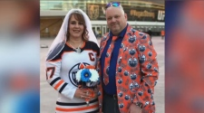 Tricia and Kevin Sexsmith got married in Las Vegas before the Oilers played the Golden Knights on Saturday, January 13, 2018.