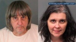 These Sunday, Jan. 14, 2018, photos released by the Riverside County Sheriff's Department show suspects David Allen Turpin (left) and Louise Anna Turpin (right). (Riverside County Sheriff's Department via AP)