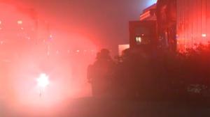 Hazmat crews outside pf Sysco Food Services on 72 Avenue S.E. following Monday night's ammonia leak
